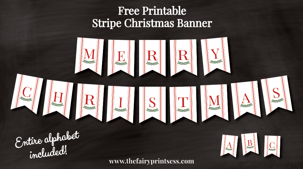 image about Free Printable Christmas Banner referred to as Xmas Banner - Crimson Ticking Stripe - Suitable for Xmas!