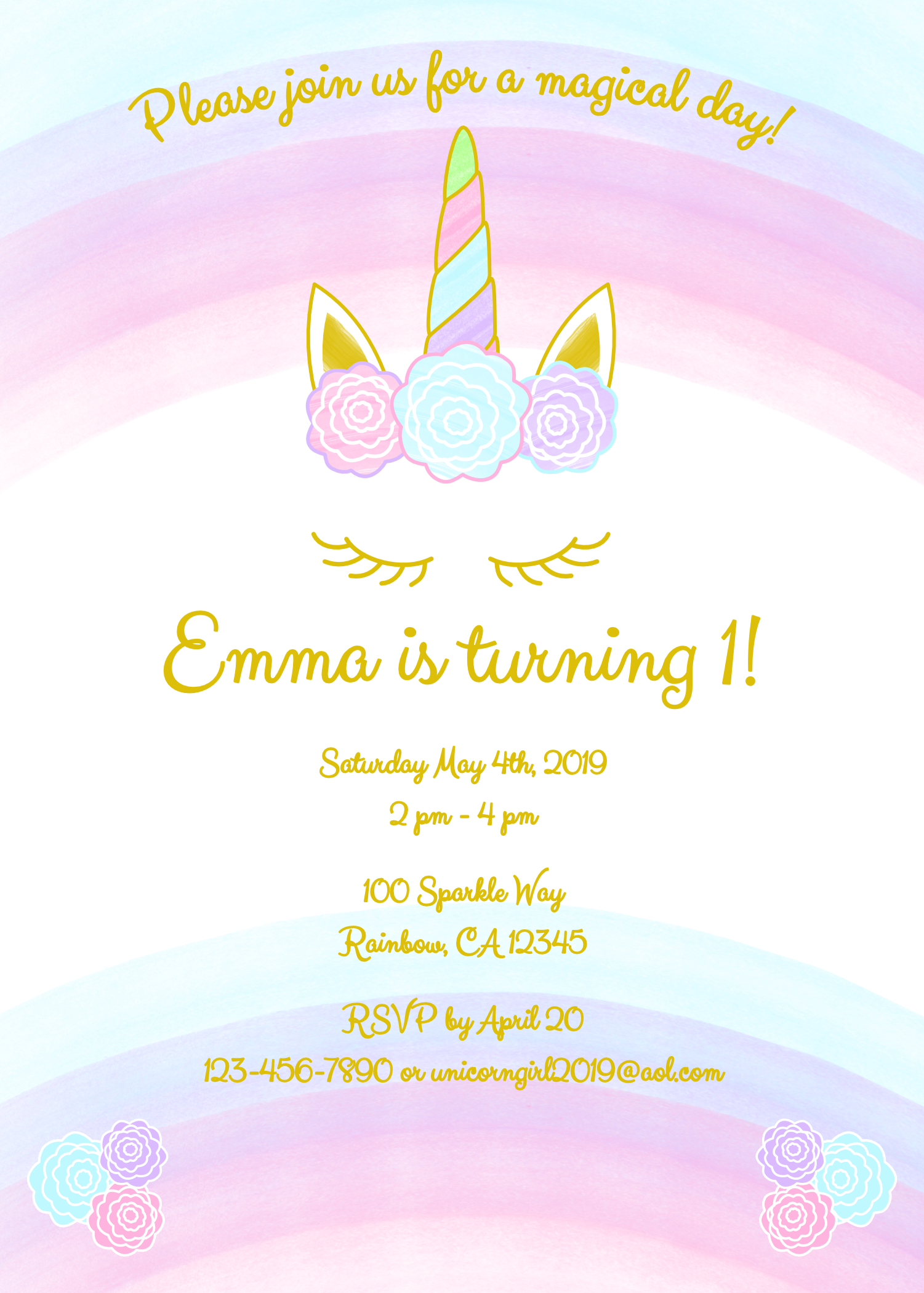 Unicorn Invitation Free Printable Templates - Easy To Download!