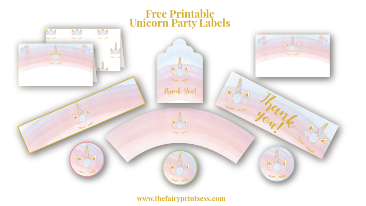 Free Printable Unicorn Party Labels Cupcake Wrappers Circles More